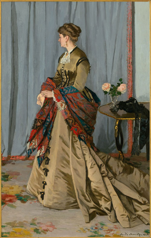 Claude Monet. Madame Louis Joachim Gaudibert, 1868. Oil on canvas, 217 x 138.5 cm. Musée d'Orsay, Paris. Acquired thanks to an anonymous Canadian gift, 1951.