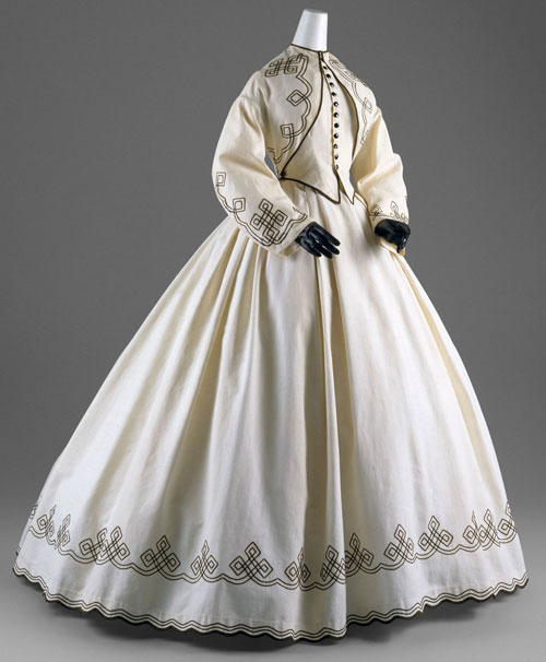 Day Dress, American, 1862–64. White cotton piqué with black soutache. The Metropolitan Museum of Art, New York. Gift of Chauncey Stillman, 1960 (C.I.60.6.11a, b).