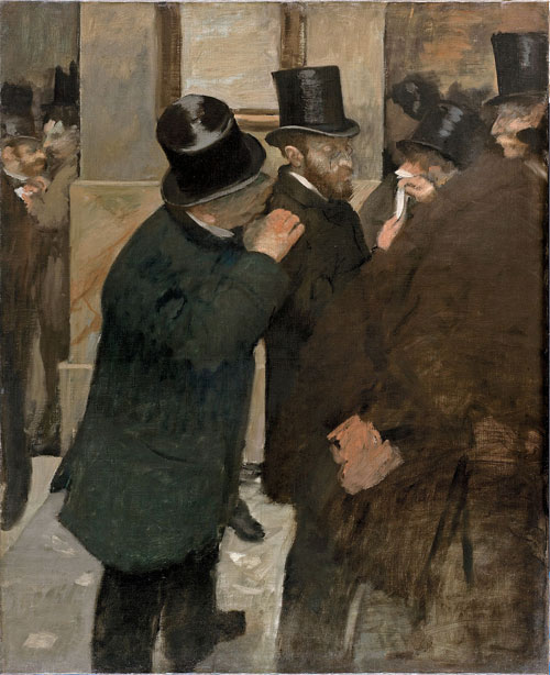 Edgar Degas. Portraits at the Stock Exchange, 1878–79. Oil on canvas, 100 x 82 cm. Musée d'Orsay, Paris. Bequest subject to usufruct of Ernest May, 1923.