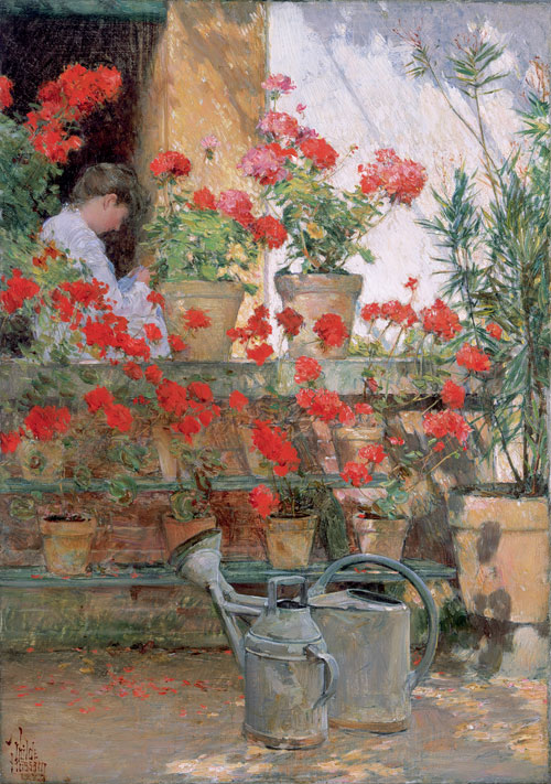Frederick Childe Hassam. <em>Geraniums</em>, 1888&ndash;89. Oil on canvas, 46.4 x 32.9 cm. The Hyde Collection, Glens Falls, New York.