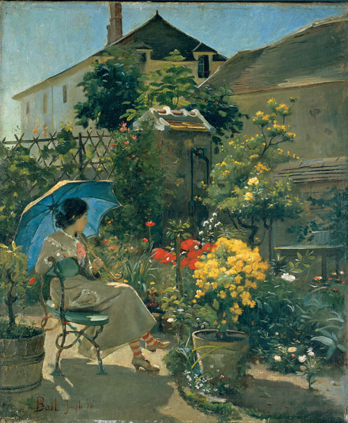 Joseph Bail. <em>The Artist's Sister in her Garden</em>, 1880. Oil on canvas, 55 x 46 cm. Mus