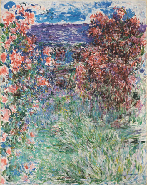 Claude Monet. <em>The House Among the Roses</em>, 1925. Oil on canvas, 92.3 x 73.3 cm. Carmen Thyssen-Bornemisza Collection, on loan to the Museo Thyssen-Bornemisza, Madrid.