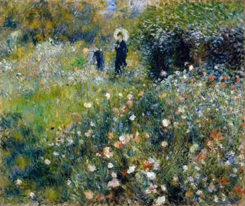 Pierre-Auguste Renoir. <em>Woman with Parasol in a Garden</em>, c1875-76. Oil on canvas, 54.5 x 65 cm. Museo Thyssen-Bornemisza, Madrid. Photo