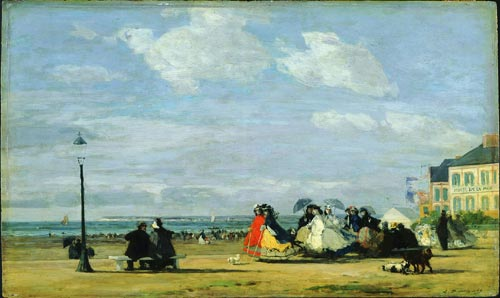 Eugene Boudin, <em>The Beach at Trouville - The Empress Eugenie</em>, 1863. Oil on wood, 34.2 x 57.8cm. Glasgow City Council (Museums). Photo © Glasgow City Council (Museums)