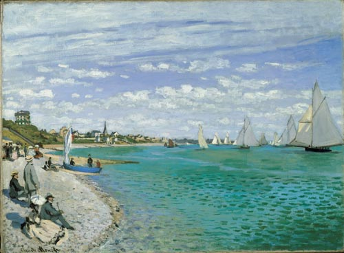 Claude Monet, <em>The Regatta at Sainte-Adresse</em>, 1867. Oil on canvas, 75.2 x 101.6 cm. The Metropolitan Museum of Art, Bequest of William Church Osborn, 1951 (51.30.4). Photo © 1980 The Metropolitan Museum of Art.