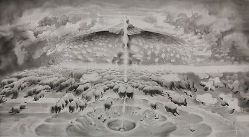 Ren Jian. Primeval Chaos, 1987–88. Handscroll; ink on polyester, 59 1/16 in. × 98 ft. 5 1/8 in. (150 × 3000 cm). Lent by Hong Kong Museum of Art, donated by Ms. Wong Ying-kay, Ada. © Ren Jian.