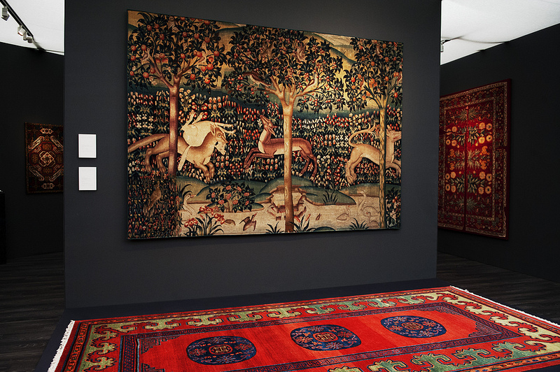 Millefleurs Tapestry, Garden of Delight with Animals, Flanders c. 1500. Gallery Moshe Tabibnia, Milan. Frieze Masters 2012. Photograph: Linda Nylind. Courtesy of Linda Nylind/Frieze.