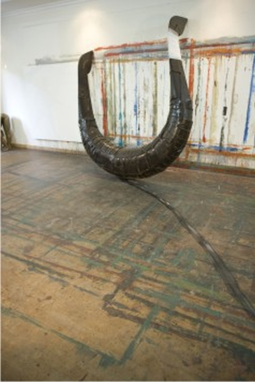 G R Iranna. Dragged Boat, 2008. Mixed Media Installation. Courtesy of the artist.