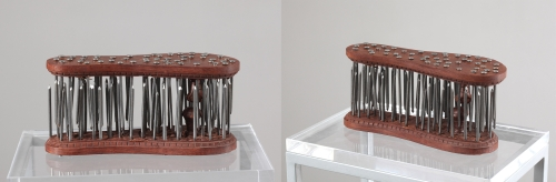 G R Iranna. Tapasya, 2012. Wood and Metal. 6 x 11 x 4 inches. Courtesy of the artist.