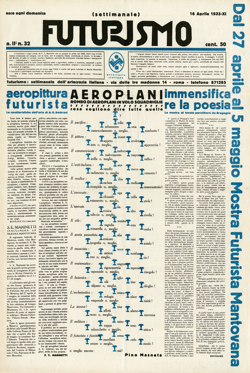 Mino Somenzi, ed., with words-in-freedom image Airplanes (Aeroplani) by Pino Masnata. Futurismo 2, no. 32 (Apr. 16, 1933). Journal (Rome, 1933), 64 x 44 cm. Fonds Alberto Sartoris, Archives de la Construction Moderne–Ecole polytechnique fédérale de Lausanne (EPFL), Switzerland. Photograph: Jean-Daniel Chavan.