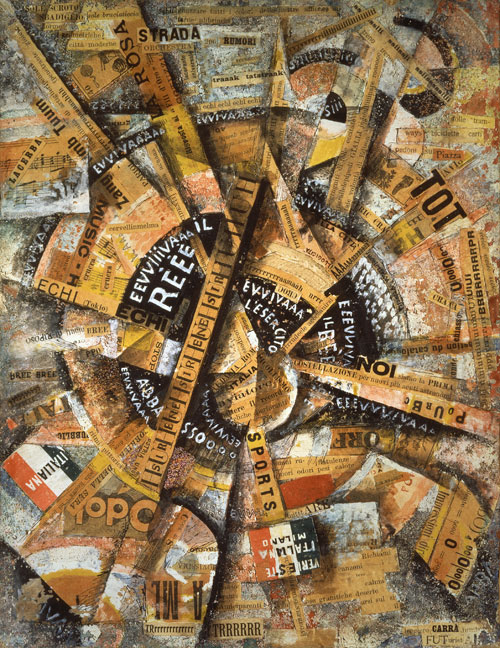Carlo Carrà. Interventionist Demonstration (Manifestazione Interventista), 1914. Tempera, pen, mica powder, paper glued on cardboard, 38.5 x 30 cm. The Solomon R. Guggenheim Foundation, The Gianni Mattioli Collection, on extended loan to the Peggy Guggenheim Collection, Venice. © 2013 Artists Rights Society (ARS), New York / SIAE, Rome. Photograph: Courtesy Solomon R. Guggenheim Foundation, New York.