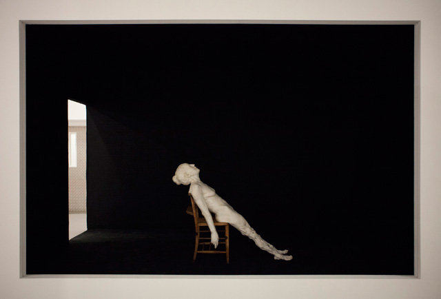 Virgile Ittah. Regarding the pain of the other, 2013. Mixed wax, marble dust, antique church chair, 450 x 260 x 380 cm.