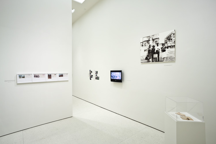 Emily Jacir, Material for a film, 2004–07. Multimedia installation, three sound pieces, one video, texts, photos, archival material. Installation view, The Hugo Boss Prize 2008: Emily Jacir, Solomon R. Guggenheim Museum, New York. Photograph by David Heald © The Solomon R. Guggenheim Foundation, New York. This work was devised in part with the support of La Biennale di Venezia