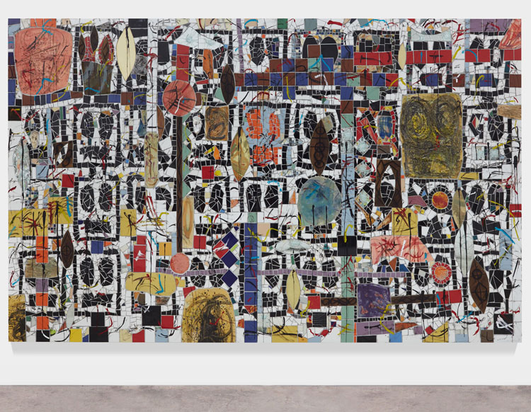 Rashid Johnson. Broken Crowd, 2020. Ceramic tile, mirror tile, spray enamel, oil stick, black soap, wax, 240.7 x 403.9 x 3 cm. Photo: Martin Parsekian. © Rashid Johnson. Courtesy the artist and Hauser & Wirth.