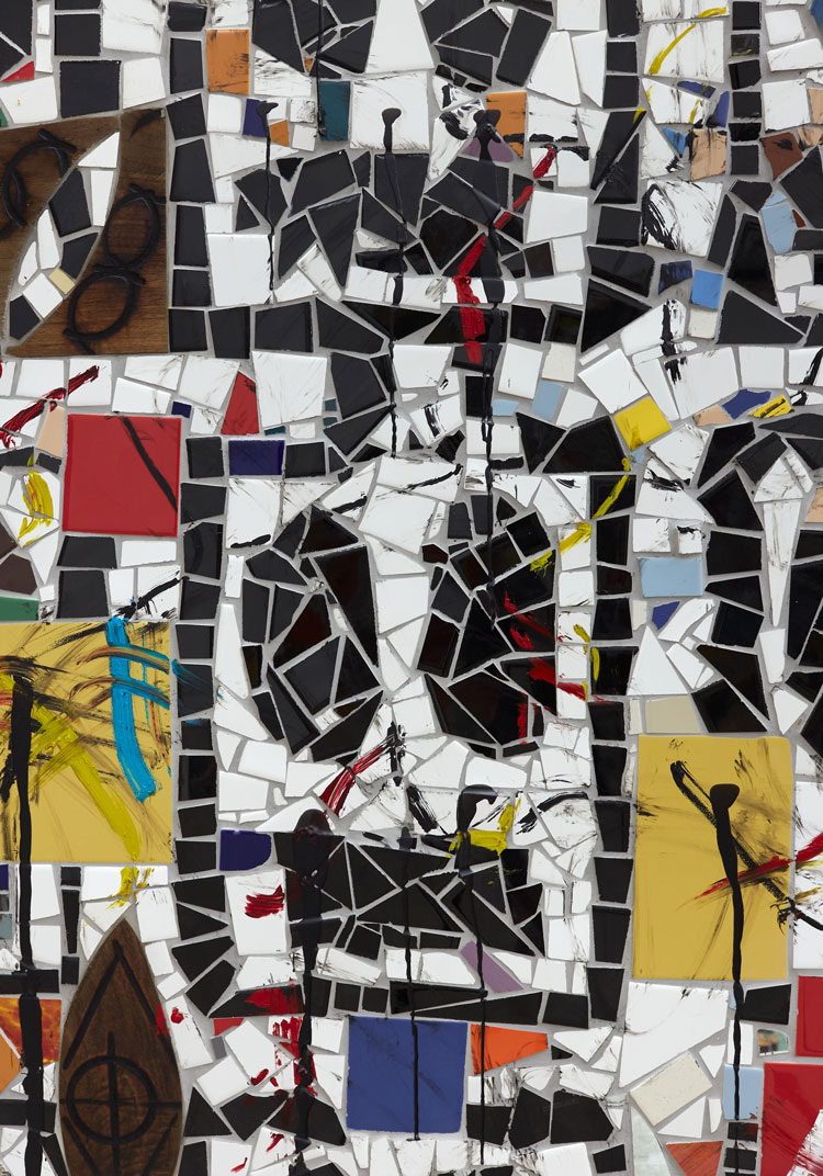 Rashid Johnson. Broken Crowd, 2020 (detail). Ceramic tile, mirror tile, spray enamel, oil stick, black soap, wax, 240.7 x 403.9 x 3 cm. Photo: Martin Parsekian. © Rashid Johnson. Courtesy the artist and Hauser & Wirth.