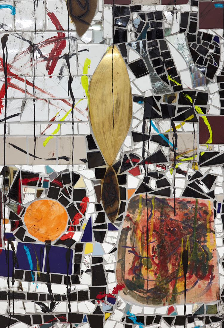 Rashid Johnson. Broken Crowd, 2020 (detail). Ceramic tile, mirror tile, spray enamel, oil stick, black soap, wax, 294.6 x 491.5 x 7.6 cm. Photo: Martin Parsekian. © Rashid Johnson. Courtesy the artist and Hauser & Wirth.