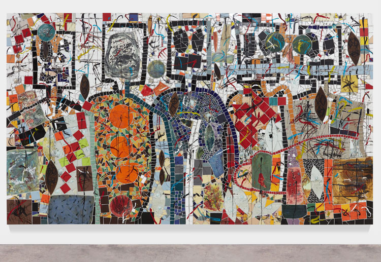 Rashid Johnson. The Broken Five, 2020. Ceramic tile, mirror tile, spray enamel, oil stick, black soap, wax, 250.2 x 430.5 cm. Photo: Martin Parsekian. © Rashid Johnson. Courtesy the artist and Hauser & Wirth.