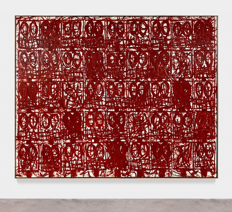 Rashid Johnson. Anxious Red Painting August 20th, 2020. Oil on linen, 239.1 x 305.1 x 5.1 cm. Photo: Martin Parsekian. © Rashid Johnson. Courtesy the artist and Hauser & Wirth.