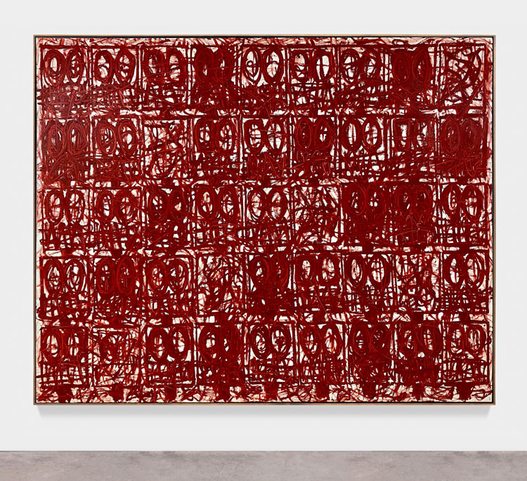 Rashid Johnson. Anxious Red Painting August 13th, 2020. Oil on linen