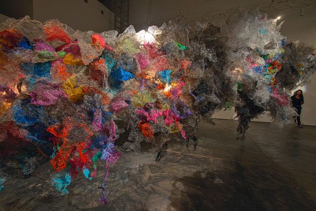 Aaditi Joshi. Untitled VII, 2011. Site-specific installation, fused plastic bags, acrylic paint, LED lights, wood armature, 432 x 94 x 110 in. Photo: David Desouza. Courtesy Gallery Maskara, Mumbai.