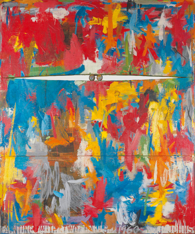 Jasper Johns. Painting with Two Balls, 1960. Encaustic and collage on canvas with objects (three panels), 165.1 x 137.5 cm. Collection of the artist © Jasper Johns / VAGA, New York / DACS, London 2017. Photograph: Jamie Stukenberg © The Wildenstein Plattner Institute, 2017.