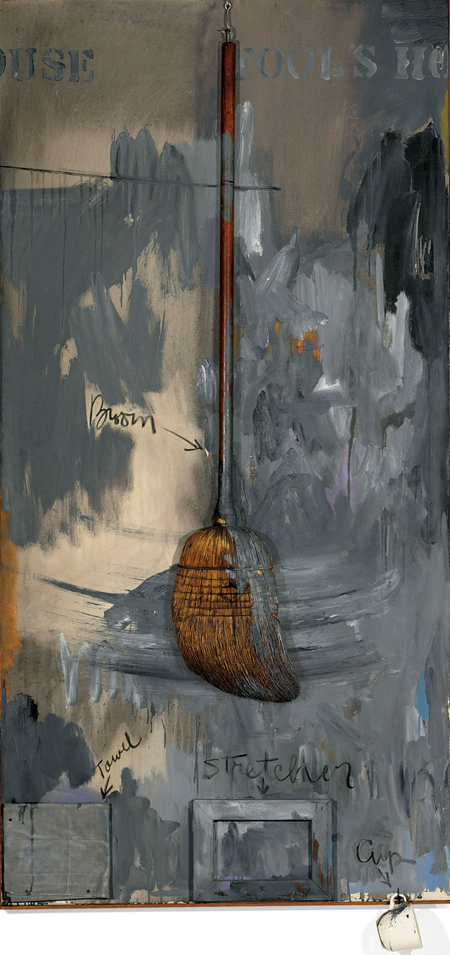Jasper Johns, Fool's House, 1961–62. Oil on canvas with broom, sculptural towel, stretcher and cup, 182.9 x 92.5 x 11.4 cm. Private collection © Jasper Johns / VAGA, New York / DACS, London 2017.