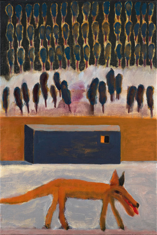 Andrzej Jackowski. <em>Vigilant Fox</em>, 2009. Oil on canvas, 83 x 55 cm. Courtesy Purdy Hicks Gallery.