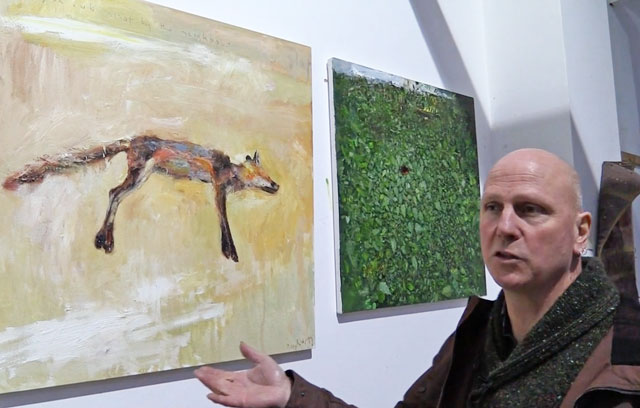 Kurt Jackson in his St Just studio, with a painting of a dead fox, 2014. Photograph: Martin Kennedy.