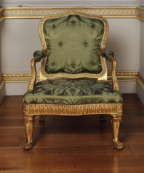 Armchair for the Painted Room, Spencer House, London, 1759-1766. Probably carved by Thomas Vardy. Carved and gilt limewood, silk damask upholstery (not original). © Courtesy of Spencer House and the Trustees of the Victoria and Albert Museum