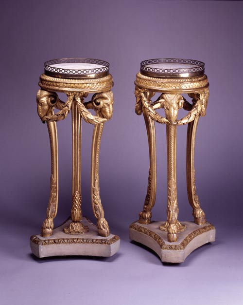 Pair of gilt tripod stands, Shugboroguh, c. 1760s. Gilt wood, gilt brass surround, marble inserts. Courtesy of Shugborough, The Anson Collection (The National Trust)