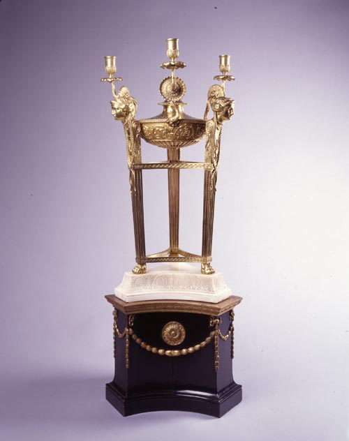 Tripod Perfume Burner with candle branches, c. 1760. Probably made by Diederich Nicolaus Anderson. Cast and chased gilt bronze, marble base. Courtesy of Kedleston Hall, The Scarsdale Collection (The National Trust)