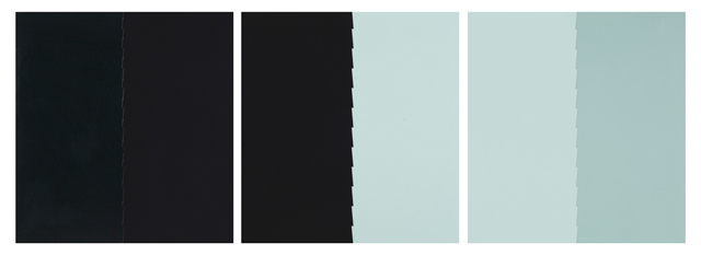 Tess Jaray. Light Triptych, Blue with Dark, 2015. Work on panel, 51 x 48 cm (x3). Photograph: Sam Roberts. © the artist.