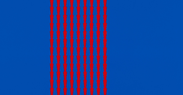 Tess Jaray. Thorns 5, 2014. Work on panel, 24 x 46 cm. Photograph: Sam Roberts. © the artist.