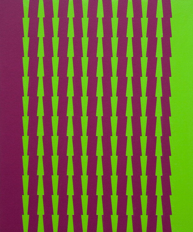 Tess Jaray. Thorns, Purple and Green, 2014. Work on panel, 29 x 24 cm. Photograph: Sam Roberts. © the artist.