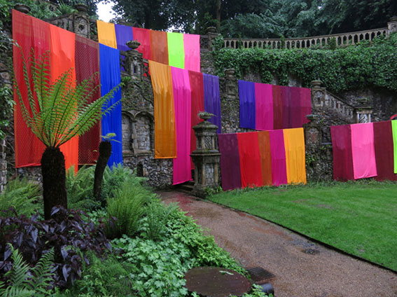 Clare Jarrett. Plantation Garden installation, Norwich, 2014, 27 sari lengths.