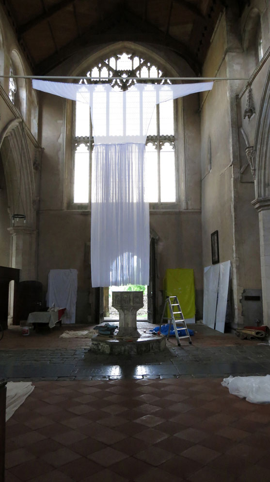 Clare Jarrett. Dress, 2016. Installation, St Margaret's Church, Cley, Norfolk, polyvoile, stitching, 600 x 700 cm.