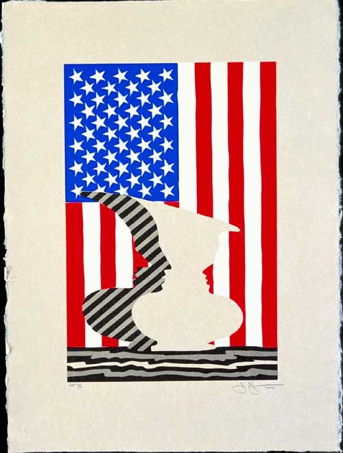"Jasper JOHNS, Untitled 2000. Linocut on paper 22"" x 17"". Collection 