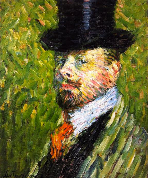 Alexei Jawlensky. Self-Portrait with Top Hat, 1904. Oil on canvas. Private collection. © 2016 Artists Rights Society (ARS), New York for Alexei Jawlensky.