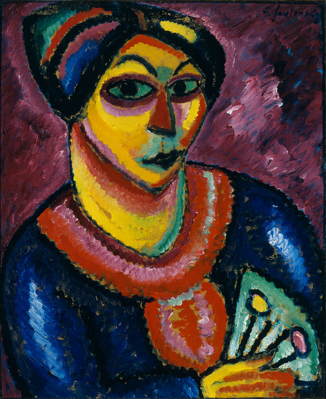 Alexei Jawlensky. Woman with Green Fan,1912. Oil on cardboard. Private collection, Courtesy Artvera's Art Gallery. © 2016 Artists Rights Society (ARS), New York for Alexei Jawlensky.