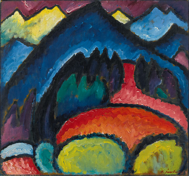 Alexei Jawlensky. Oberstdorf – Mountains, 1912. Oil on cardboard. Petr Aven Collection. © 2016 Artists Rights Society (ARS), New York for Alexei Jawlensky.