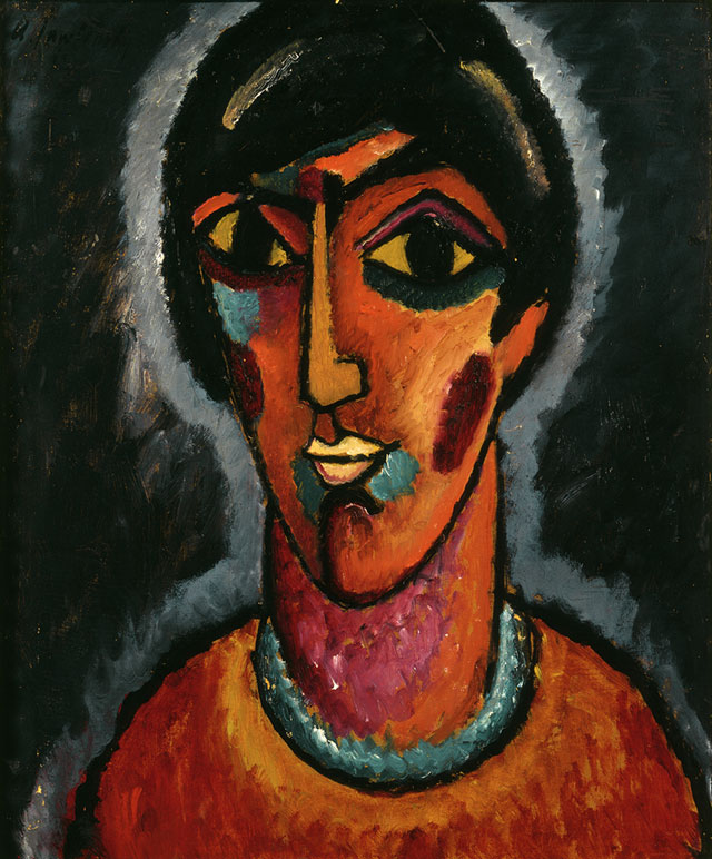 Alexei Jawlensky. Byzantine Woman, 1913. Oil on cardboard. Centre Pompidou, Paris. Musée national d'art moderne/Centre de création industrielle. © 2016 Artists Rights Society (ARS), New York for Alexei Jawlensky.