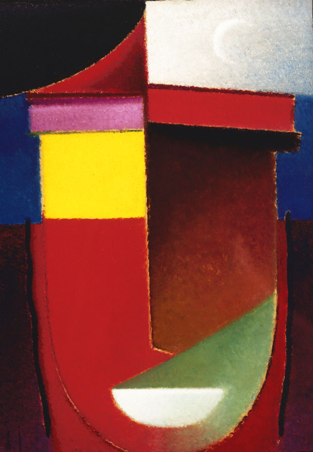 Alexei Jawlensky. Abstract Head: Late Summer (Crescent Moon), 1928. Oil on cardboard. Collection of the Long Beach Museum of Art. The Milton Wichner Collection. © 2016 Artists Rights Society (ARS), New York for Alexei Jawlensky.