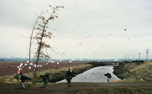 Jeff Wall, <em>A Sudden Gust of Wind (after Hokusai)</em>, 1993. Silver dye bleach transparency in light box 90 3/16 x 148 7/16 in. (229 x 377 cm). Tate, London. Purchased with the assistance from the Patrons of New Art through the Tate Gallery Foundation and from the National Art Collections Fund &copy; Jeff Wall