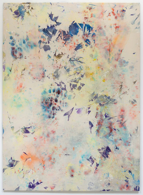 Nick Jeffrey. Colour of fire, 2014. Ink, spray paint, pigment  on canvas, 200 x 145 cm.