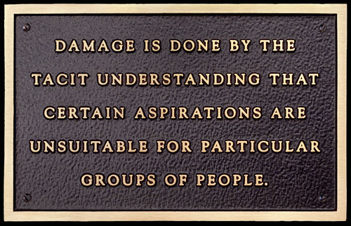 Jenny Holzer. Damage is done by the tacit understanding... Text: Living Series (1980-1982), 1981.  Text on cast bronze plaque, 15.2 x 24.1 cm.  © 1981 Jenny Holzer, member Artists Rights Society (ARS), NY.