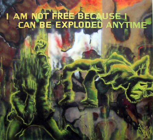 Jenny Holzer with Lady Pink. I am not free because I can be  exploded anytime, Text: Survival (1983-85). Spray paint on canvas, 264 x 288 x 2 cm. © 1983 Jenny Holzer, member Artists Rights Society (ARS), NY.