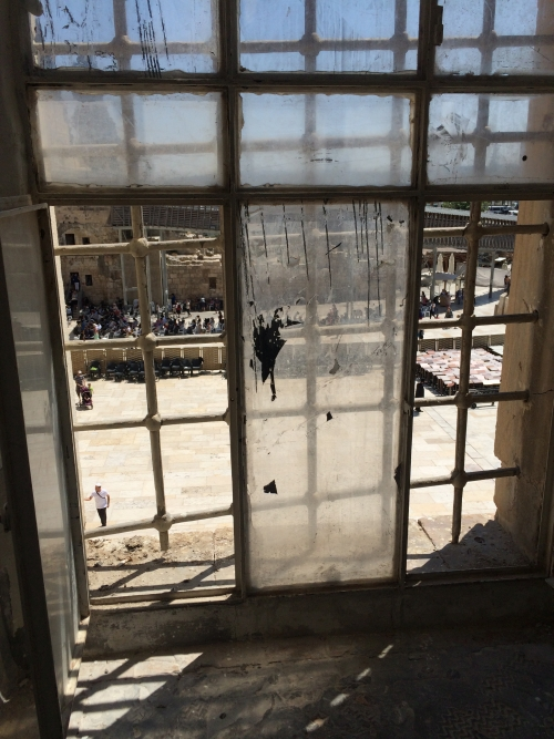 View of western wall and Temple Mount from Police Base company C. Photograph: Lilly Wei.