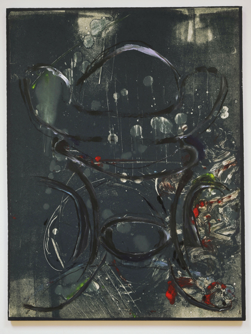 Lotte Gertz. Untitled (distortion of good taste), 2009. Oil, relief ink on paper mounted on board, 60 x 45.5 cm.