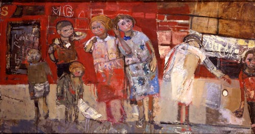 Joan Eardley<em>. Back Street Children Playing, </em>1960. Oil on board, 101 x 179 x 2 cm. Private Collection © With kind permission of the Eardley Estate.