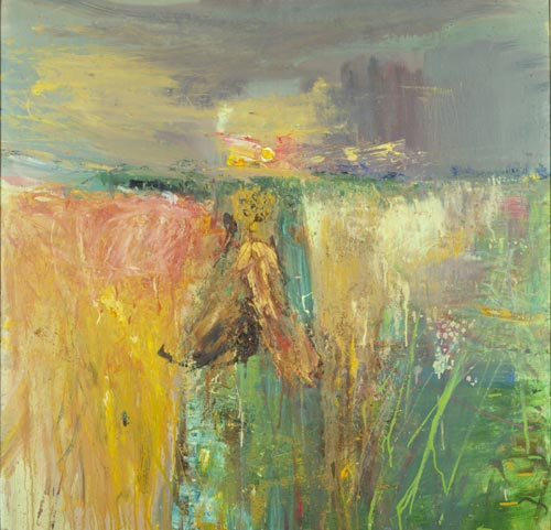 Joan Eardley. Harvest, 1960–1961. Oil and grit on hardboard, 118.10 x 118.10 cm. Scottish National Gallery of Modern Art © With kind permission of the Eardley Estate.